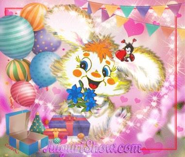 Cartolina di Buon Compleanno con coniglietto, coccinella,palloncini e scatole di regali