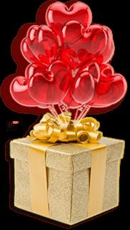 Palloncini e pacco regalo per fare auguri di buon compleanno
